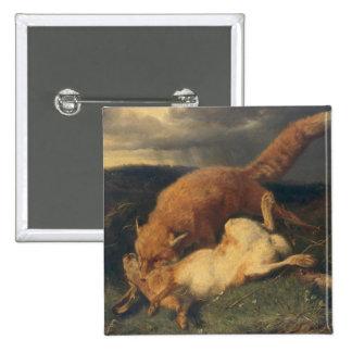 Fox y liebres, 1866 pin cuadrado