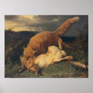 Fox y liebres, 1866 póster