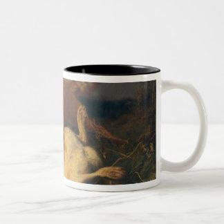 Fox y liebres, 1866 taza de café de dos colores