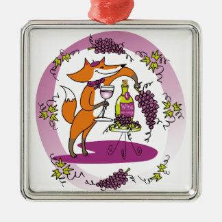 Fox y uvas: Colorete de Vin Adorno Navideño Cuadrado De Metal