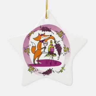Fox y uvas: Colorete de Vin Adorno Navideño De Cerámica En Forma De Estrella