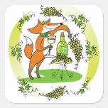 Fox y uvas: Vin Blanc Calcomanía Cuadradas