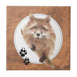 Fox, zorros, pistas animales, naturaleza azulejo cuadrado pequeño