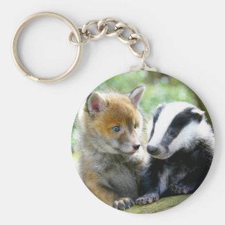 Foxcub & Badger Cute! Basic Round Button Keychain