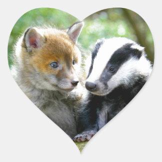 Foxcub & Badger Cute! Heart Sticker