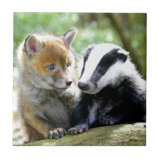 Foxcub & Badger Cute! Small Square Tile