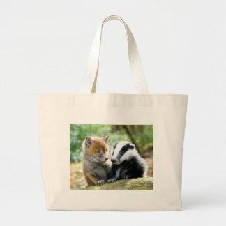 ¡Foxcub y tejón lindos! Bolsa Tela Grande