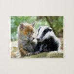 ¡Foxcub y tejón lindos! Rompecabeza Con Fotos