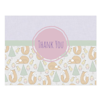 Foxes Birds and Trees Whimsical Pattern Thank You Postcard