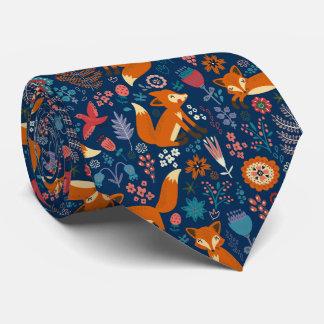 Foxes Birds & Retro Flowers Pattern Tie
