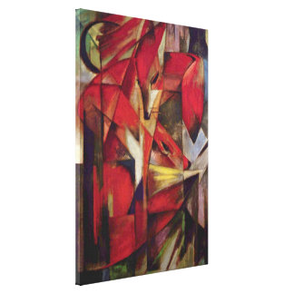 Foxes by Franz Marc, Vintage Abstract Cubism Art Canvas Print