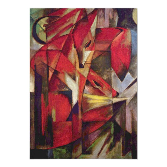 Foxes by Franz Marc, Vintage Abstract Cubism Art Card