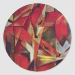 Foxes by Franz Marc, Vintage Abstract Cubism Art Classic Round Sticker