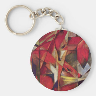 Foxes by Franz Marc, Vintage Abstract Cubism Art Keychain