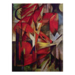 Foxes by Franz Marc, Vintage Abstract Cubism Art Poster