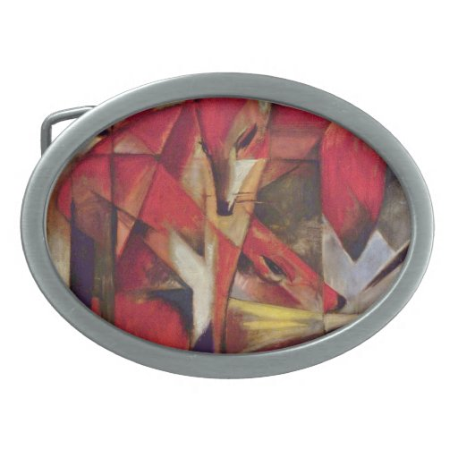 Foxes by Franz Marc, Vintage Abstract Cubism Belt Buckles