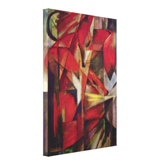 Foxes by Franz Marc, Vintage Abstract Cubism Canvas Print