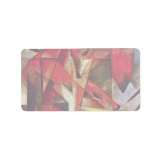 Foxes by Franz Marc, Vintage Abstract Cubism Address Label