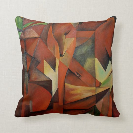 """""""Foxes"""" -  Homage to Franz Marc (1913) Throw Pillow"""