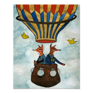 Foxes in a Hot Air Balloon Poster