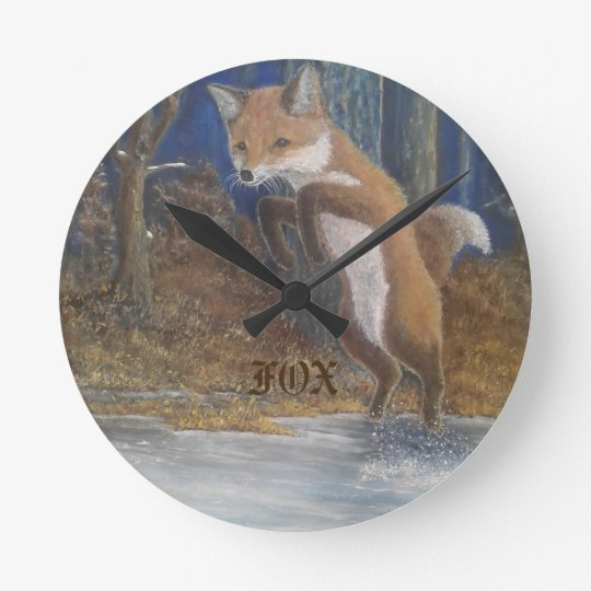 fox hunting wall clock
