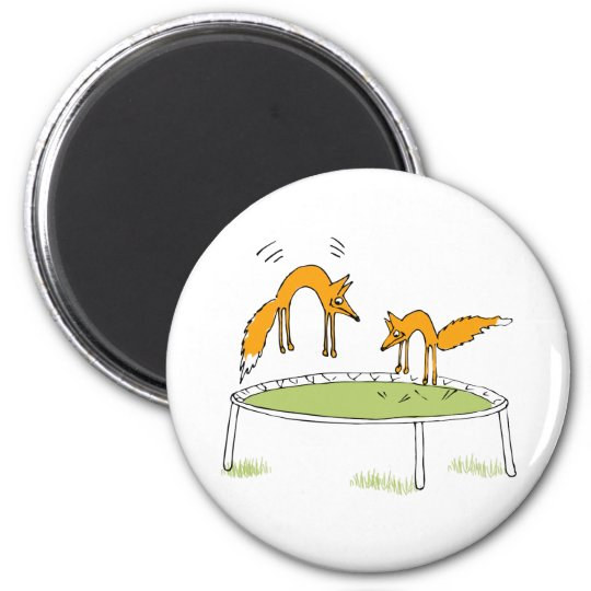 Foxes on Trampoline 2 Inch Round Magnet