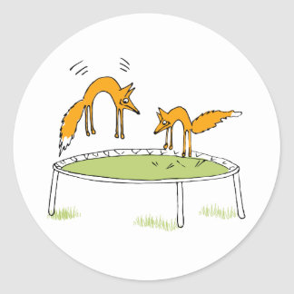Foxes on Trampoline Classic Round Sticker
