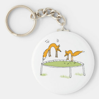 Foxes on Trampoline Keychain