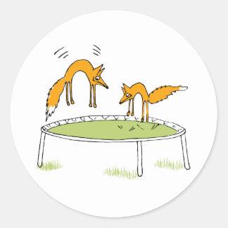 Foxes on Trampoline Round Stickers