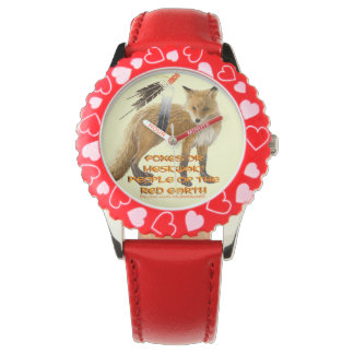 """""""Foxes or Meskwaki – People of the Red Earth"""" Wristwatch"""
