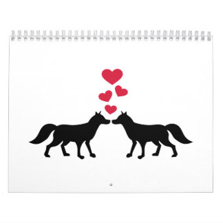 Foxes red hearts love wall calendars