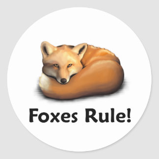 Foxes Rule! Classic Round Sticker