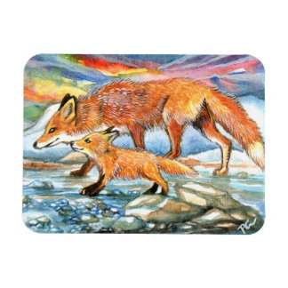 Foxes Walking by Riverbank Magnet