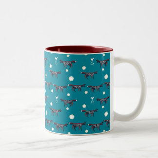 Foxes with bird and star on blue Two-Tone coffee mug