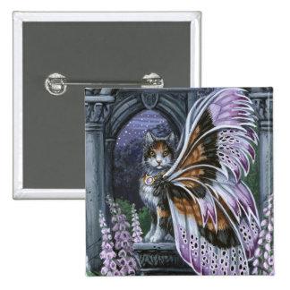 Foxglove Calico Winged Cat Button