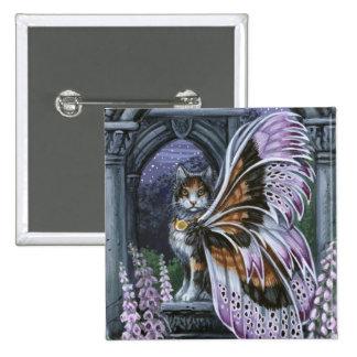 Foxglove Calico Winged Cat Pinback Button