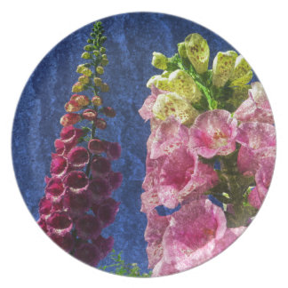 Foxglove flowers on texture with frame dinner plate