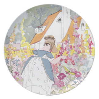 Foxglove Garden, Cottage and Handcart Melamine Plate