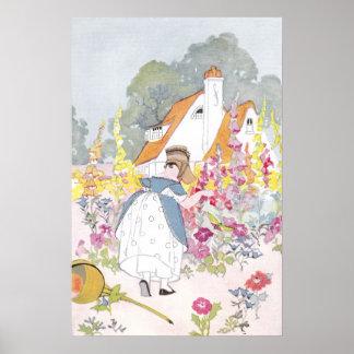 Foxglove Garden, Cottage and Handcart Poster