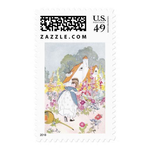 Foxglove Garden, Cottage and Handcart Stamp