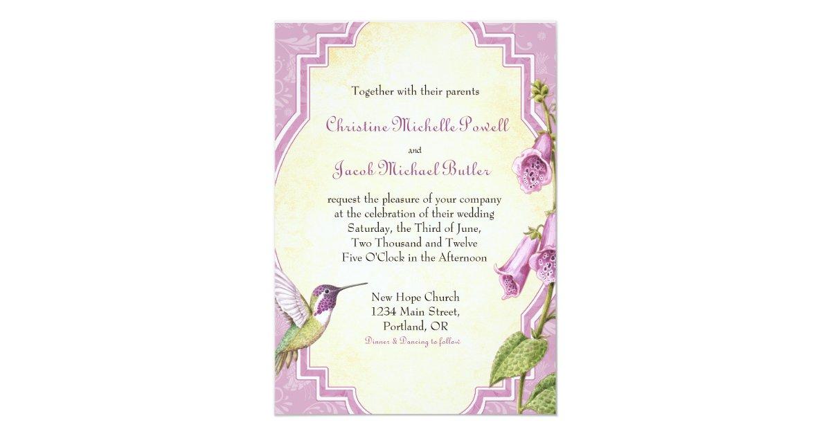 Hummingbird Wedding Invitations: Foxglove Hummingbird - Wedding Invitation