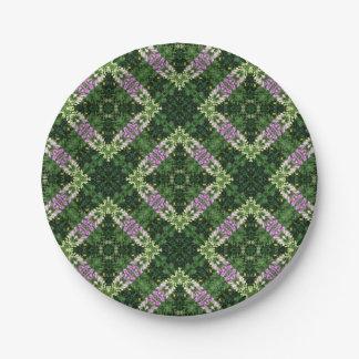 Foxglove square pattern paper plate