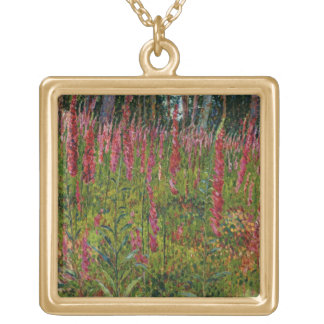 Foxgloves, c.1916 (oil on canvas) gold plated necklace
