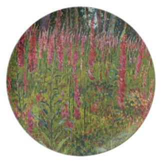 Foxgloves, c.1916 (oil on canvas) melamine plate