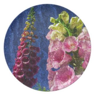 Foxgloves on texture melamine plate