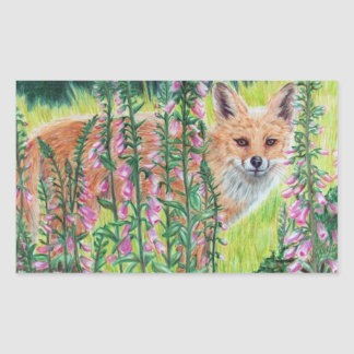 Foxgloves Rectangular Sticker