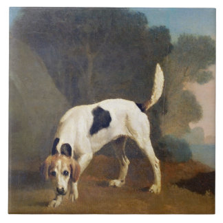 Foxhound on the Scent, c.1760 (oil on paper laid o Large Square Tile