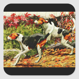 Foxhounds(English&American ) in autumn wood Square Sticker