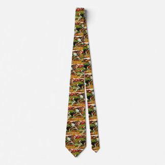 Foxhounds(English&American ) in autumn wood Tie