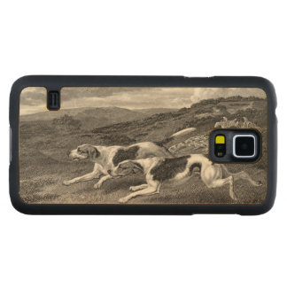 Foxhounds Vintage Dog Art Carved Maple Galaxy S5 Slim Case